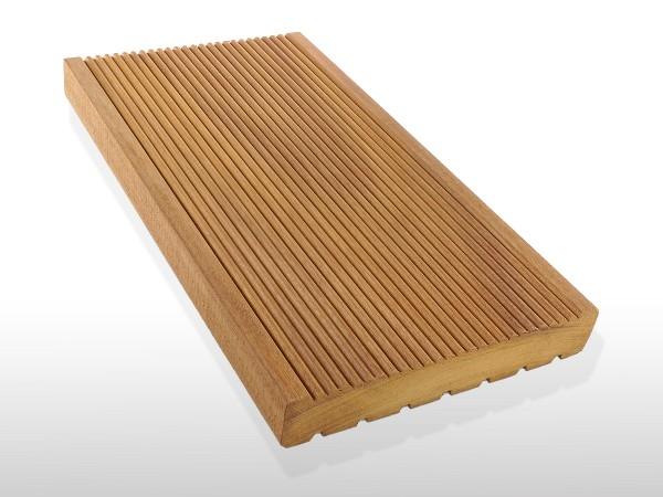 Garapa Holz Dielen für die Terrasse, 7,40 €/lfm, Premium (KD) fein gerillt, 21 x 145 bis 6100 mm, Terrassendielen Bretter
