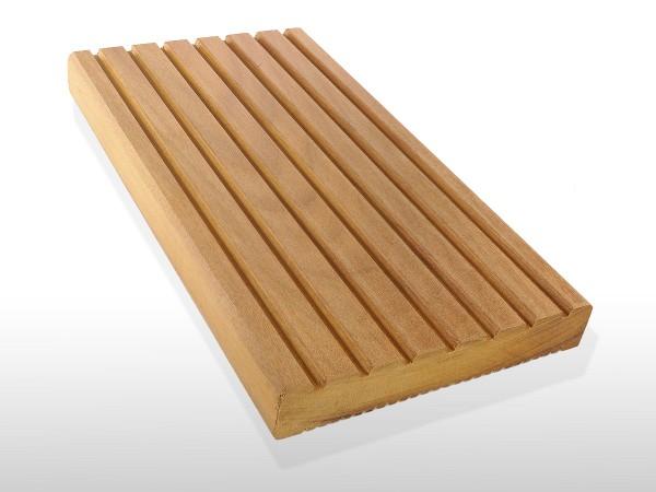 Garapa Holz Dielen für die Terrasse, 9,20 €/lfm, Premium (KD) grob genutet, 25 x 145 bis 6100 mm, Terrassendielen Bretter