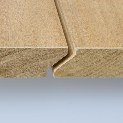 Garapa Holz Dielen für die Terrasse, 7,90 €/lfm, Premium (KD) glatt, mit Wechselfalz und stirnseitig Nut / Feder Verbindung, 21 x 125 bis 2750 mm,  Terrassendielen Bretter