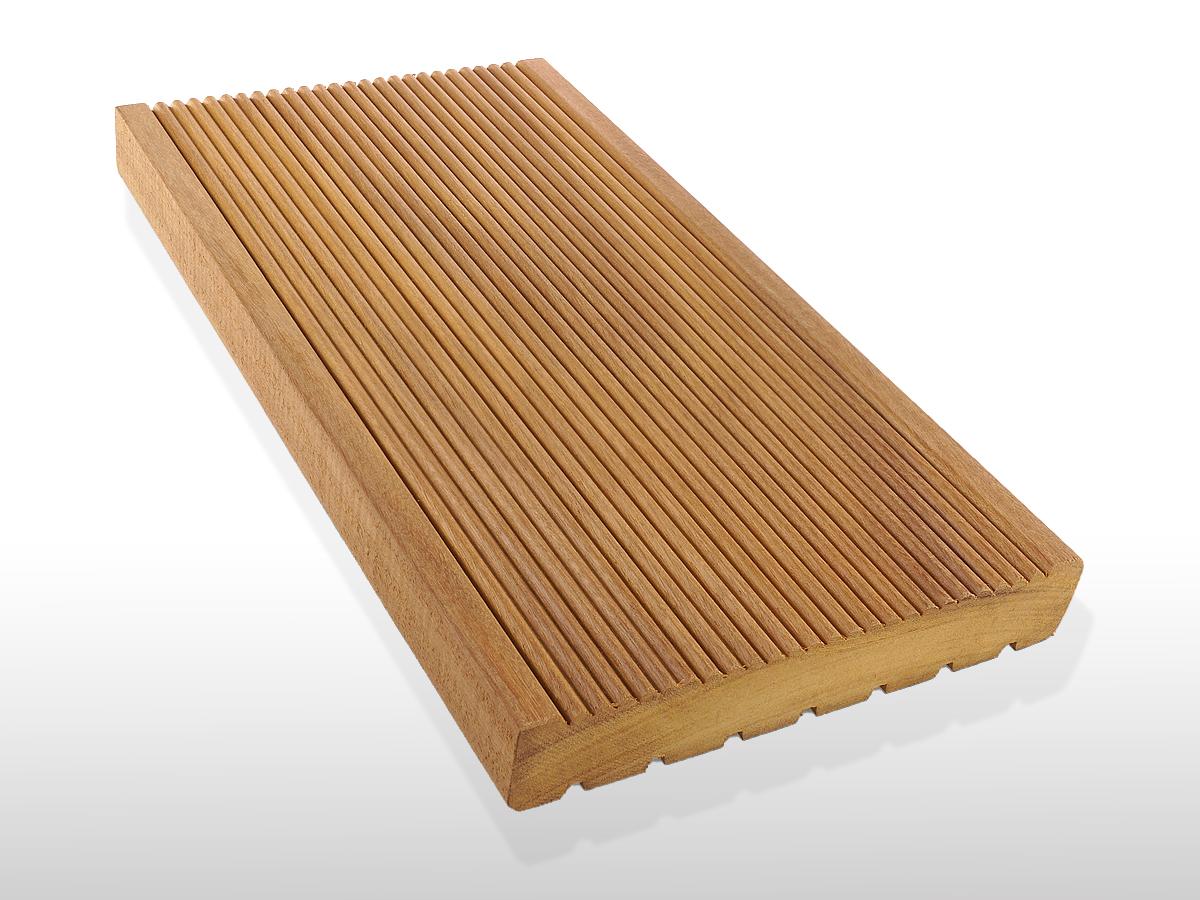 Garapa Holz Dielen für die Terrasse, 9,20 €/lfm, Premium (KD) fein gerillt, 25 x 145 bis 6100 mm, Terrassendielen Bretter