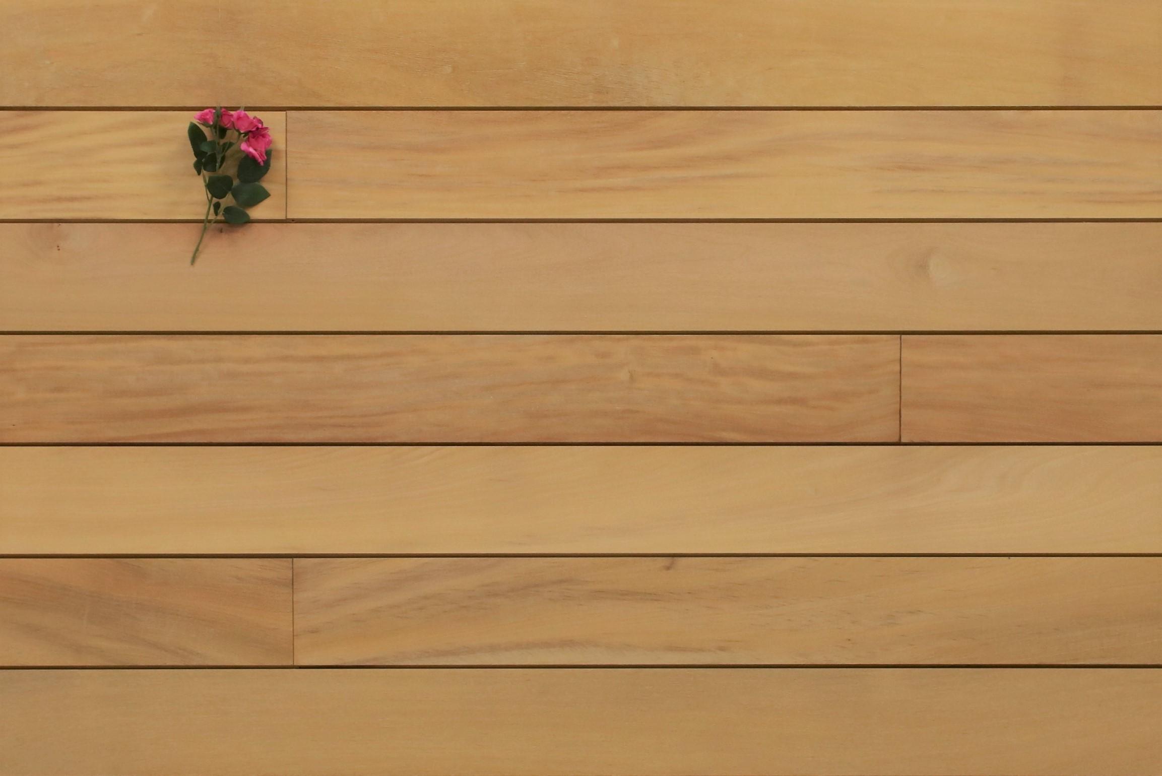 Garapa Holz Dielen für die Terrasse, 8,90 €/lfm, Premium (KD) glatt, mit Wechselfalz und stirnseitig Nut / Feder Verbindung, 21 x 125 bis 2750 mm,  Terrassendielen Bretter