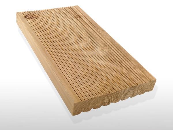 Sibirische Lärche Holz Dielen für die Terrasse, AB Sortierung, 3,70 €/lfm, fein gerillt, 26 x 143 bis 6000 mm, Terrassendielen Bretter