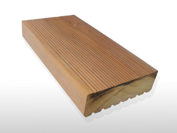 Garapa Holz Dielen für die Terrasse, 15,90 €/lfm, Premium (KD) fein gerillt, 45 x 145 bis 6100 mm, Terrassendielen Bretter