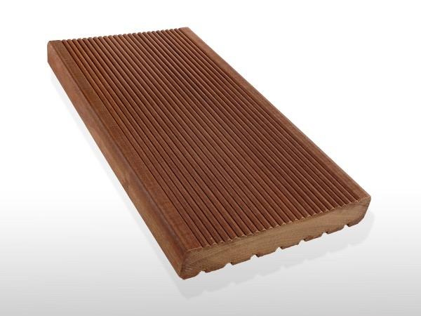 Bangkirai Holz Dielen für die Terrasse, 8,50 €/lfm, Premium (KD) fein gerillt, 25 x 145 x 3970 mm, Terrassendielen Bretter