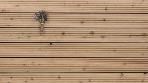 Sibirische Lärche Holz Dielen für die Terrasse, B Sortierung, 5,90 €/lfm, grob genutet, 27 x 143 bis 6000 mm, Terrassendielen Bretter